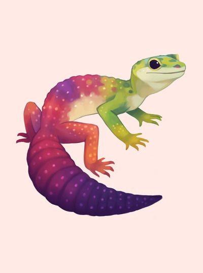 Cute small colorful lizard tattoo design