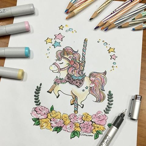 Cute small colorful unicorn carousel with floral frame tattoo design