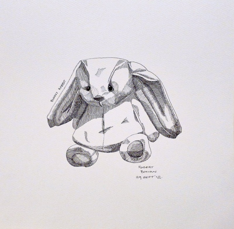 Cute small grey-ink hare toy tattoo design