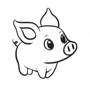 Cute small outline pig figure tattoo design