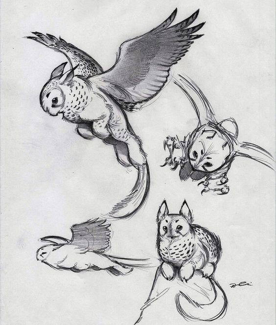 Cute small pencilwork griffin babies tattoo design