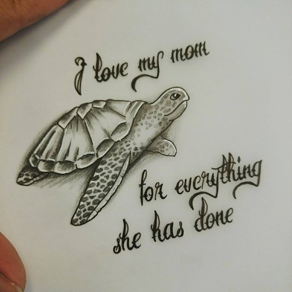 Cute Small Turtle Tattoo Desidn With Letterings By Kohlmeisen