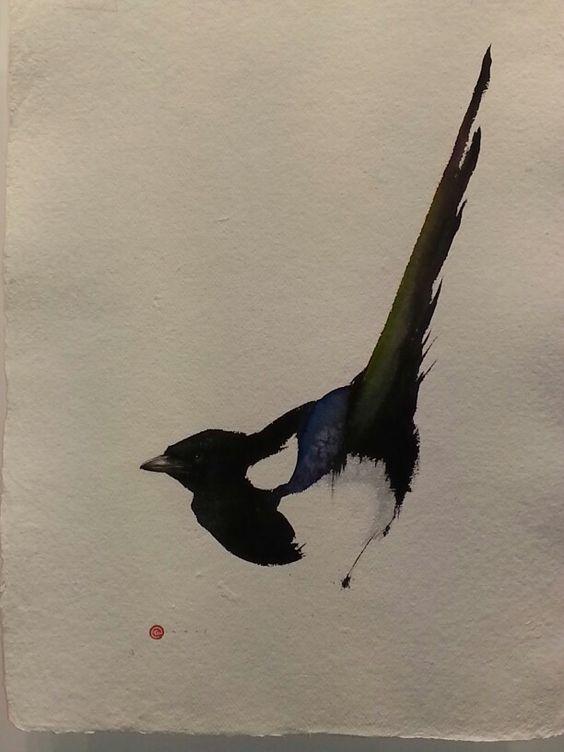 Cute small watercolor raven tattoo design