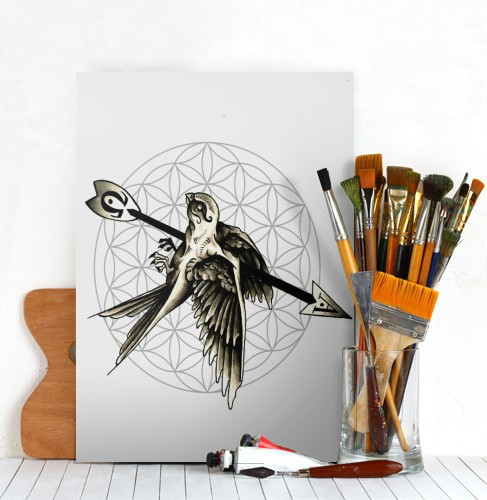 Cute sparrow killed with huge arrow on flower of life background tattoo design