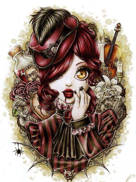 Cute surprised cartoon vampire girl on detailed background ...