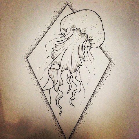 Cute tiny jellyfish in dotwork rhombus frame tattoo design