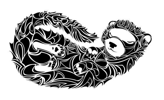 Cute tribal sleeping rodent tattoo design