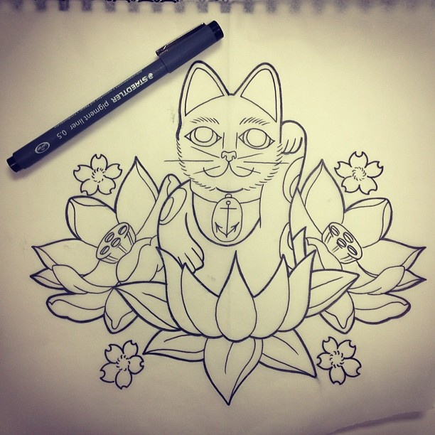 cute uncolored japanese cat on lotus flower tattoo design. Black Bedroom Furniture Sets. Home Design Ideas