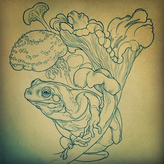 Cute uncolored reptile sitting among high mushrooms tattoo design
