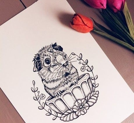 Cute uncolored rodent sitting in cup tattoo design