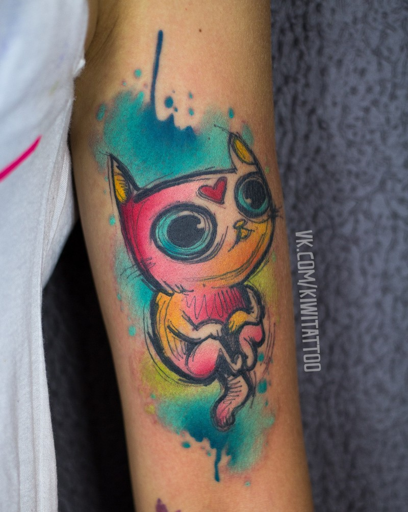 Cute watercolor and sketch graphics cat tattoo