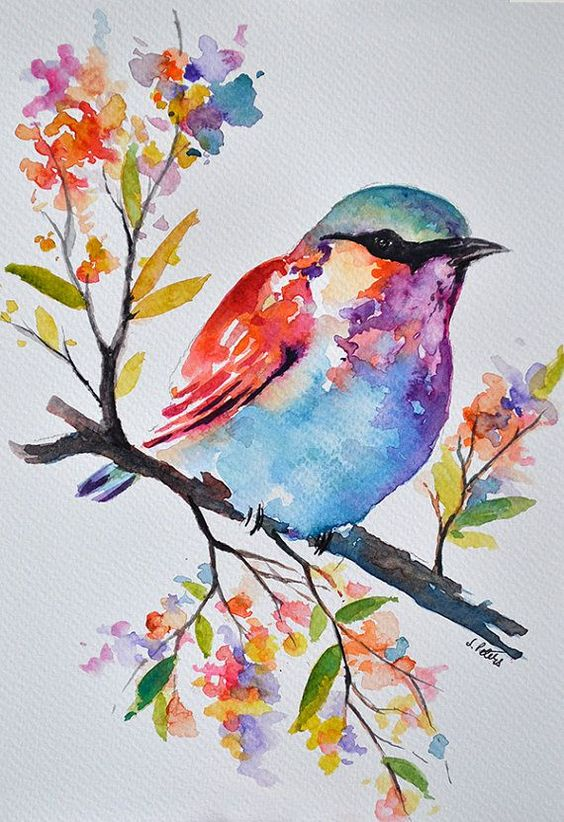 Cute watercolor bird sitting on leaved branch tattoo design