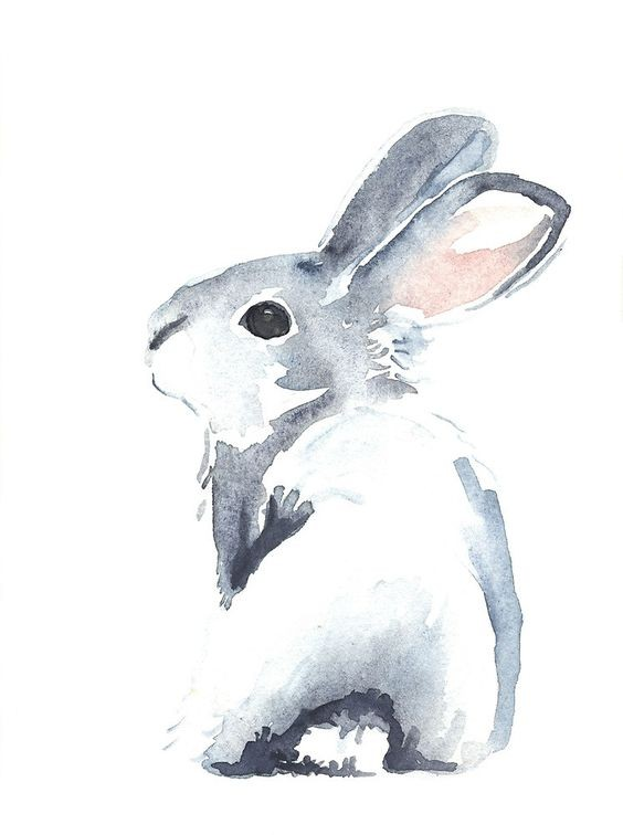 Cute watercolor hare baby turning its back tattoo design
