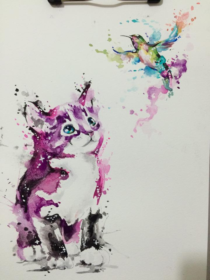 Cute watercolor hummingbird and cat tattoo design