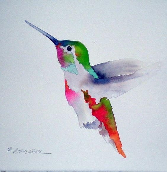 Cute watercolor hummingbird tattoo design