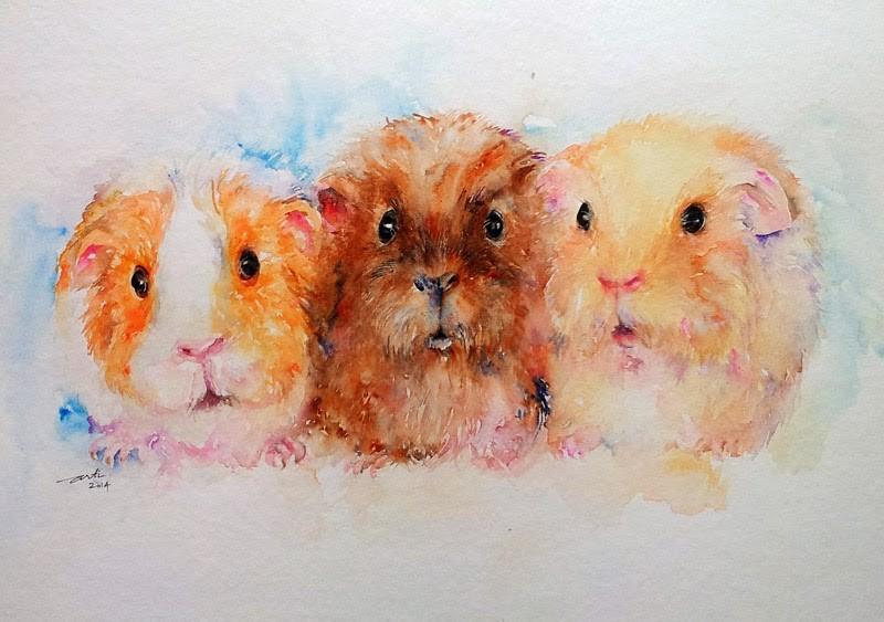 Cute watercolor rodent trio tattoo design