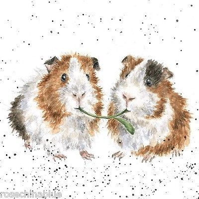 Cute watercolor rodents eating green herbal stem tattoo design