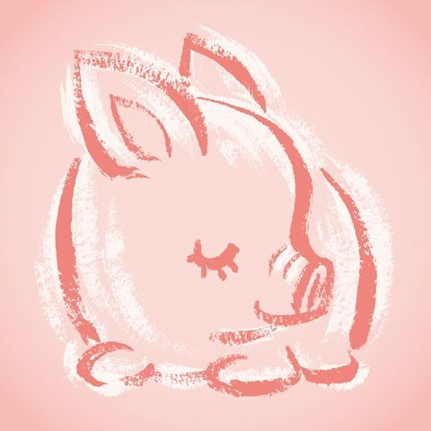 Cute white-and-rosy line sleeping pig baby tattoo design