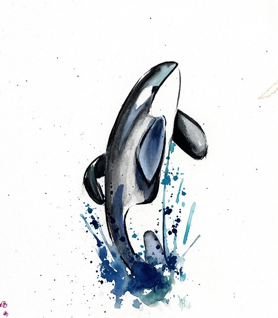 Cute white-belly whale jumping from watercolor vortex tattoo design