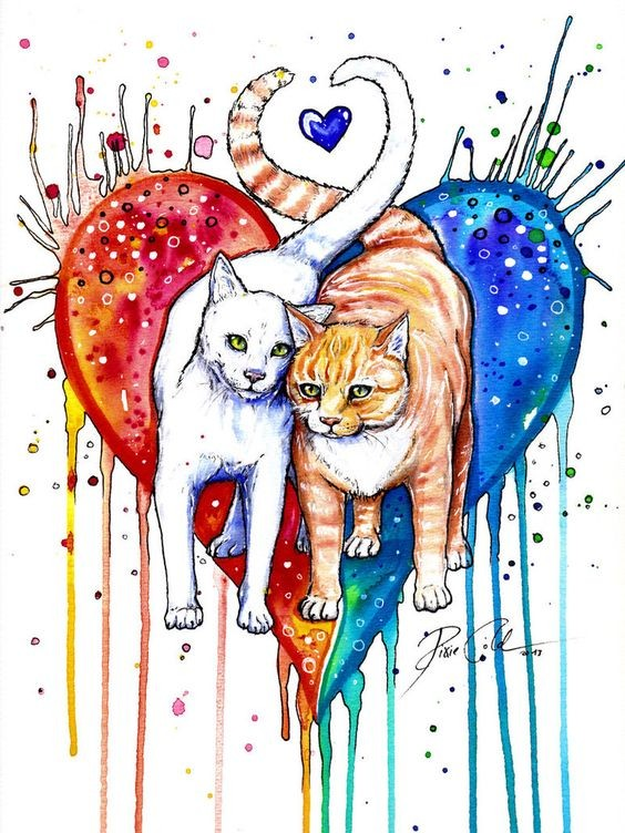Cute white and ginger animal lovers on watercolor heart background tattoo design
