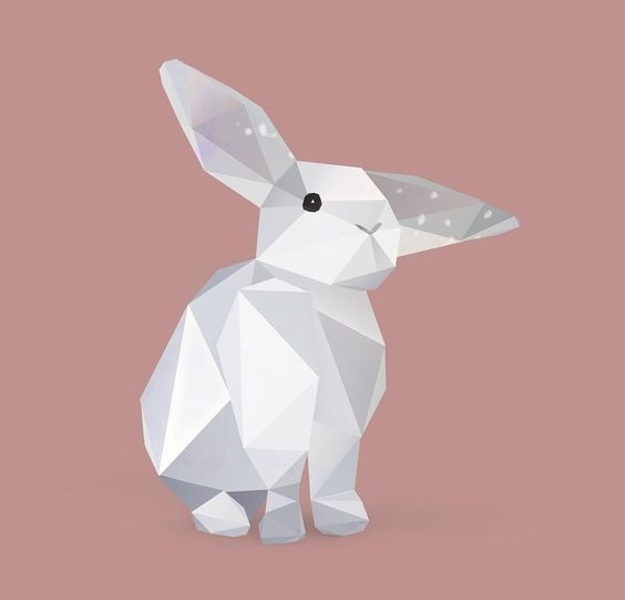 Cute white geometric-style hare baby tattoo design