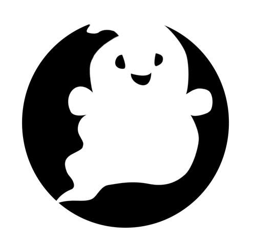 Cute white ghost on black circle background tattoo design