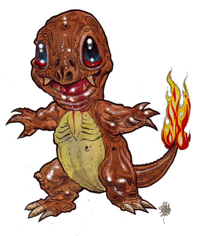 Cute zombie charmander with fire tail pokemon tattoo design