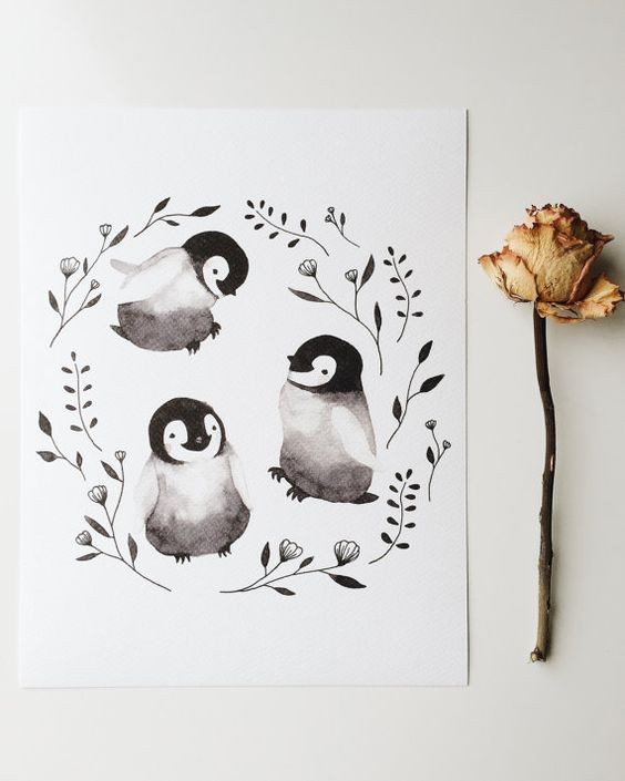Cutee grey penguin trio with herbs tattoo design