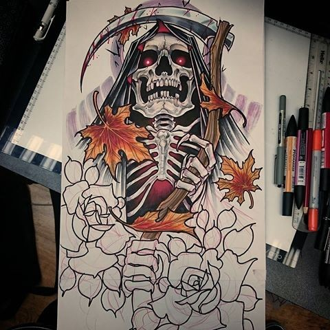Dangerouns new school death with red eyes and falling maple leaves tattoo design