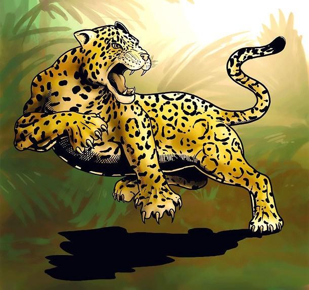 Dangerous colorful jumping jaguar tattoo design