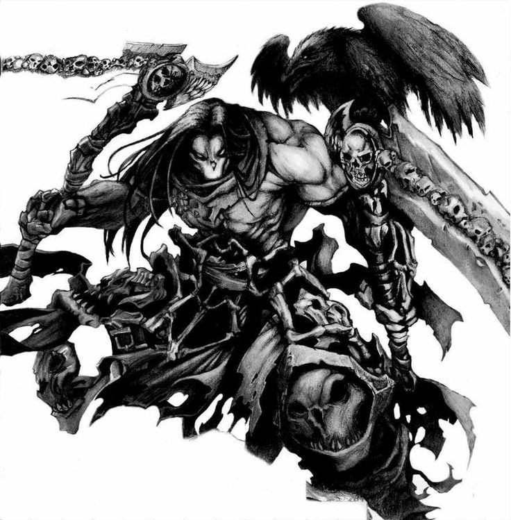 Dangerous death warrior with two giant axes tattoo design