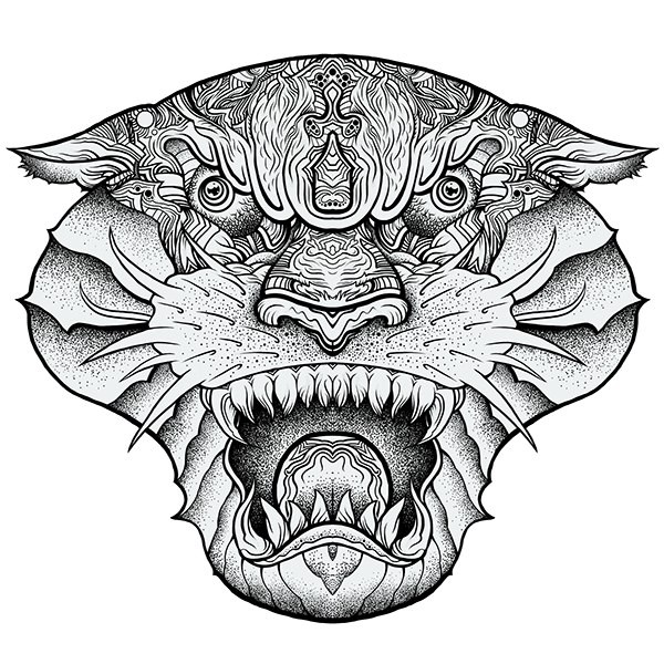 Dangerous grey-ink ornate panther muzzle tattoo design