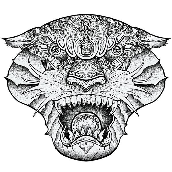 dangerous grey ink ornate panther muzzle tattoo design. Black Bedroom Furniture Sets. Home Design Ideas