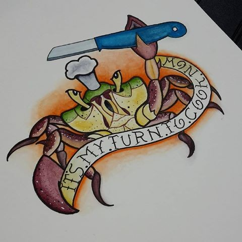 Dangerous new school crab cook with knife and huge banner tattoo design