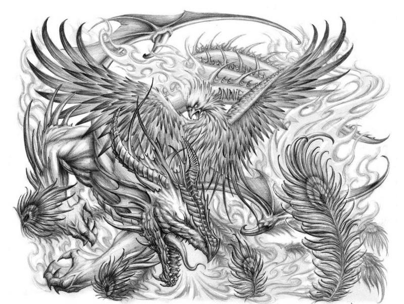 Dangerous pencilwork dragon and phoenix fight tattoo design by-Loren