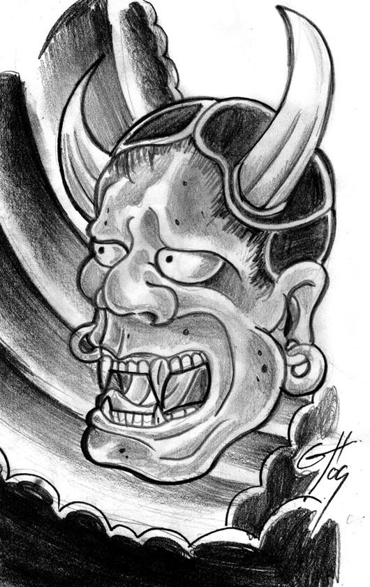 Dangerous pencilwork japanese oni devil with huge horns tattoo design