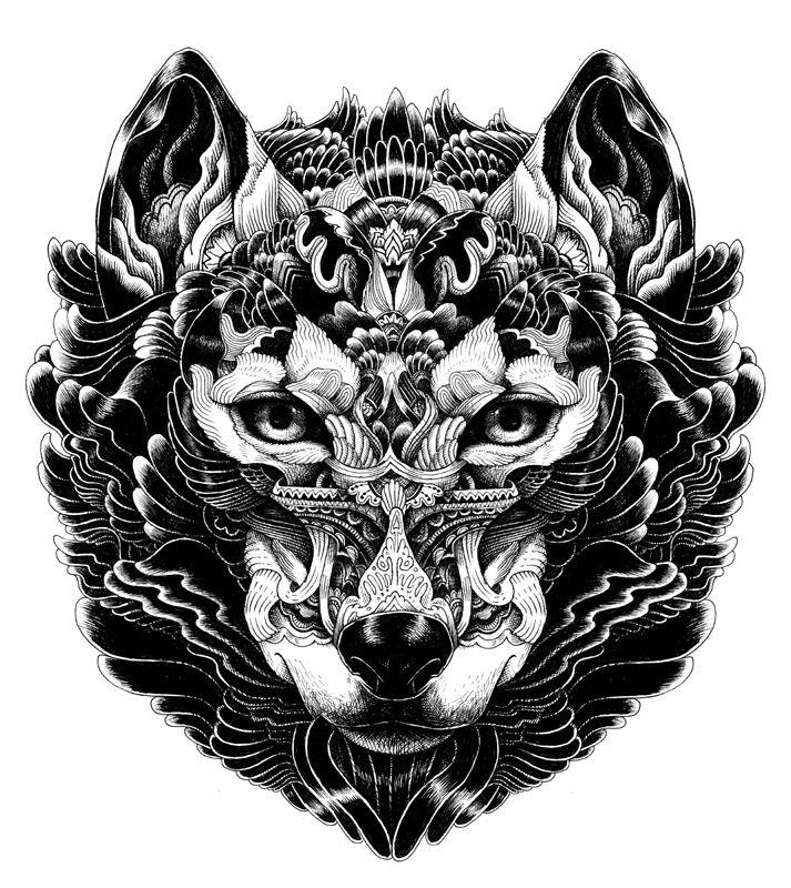 Dark-color ornamented wolf muzzle tattoo design