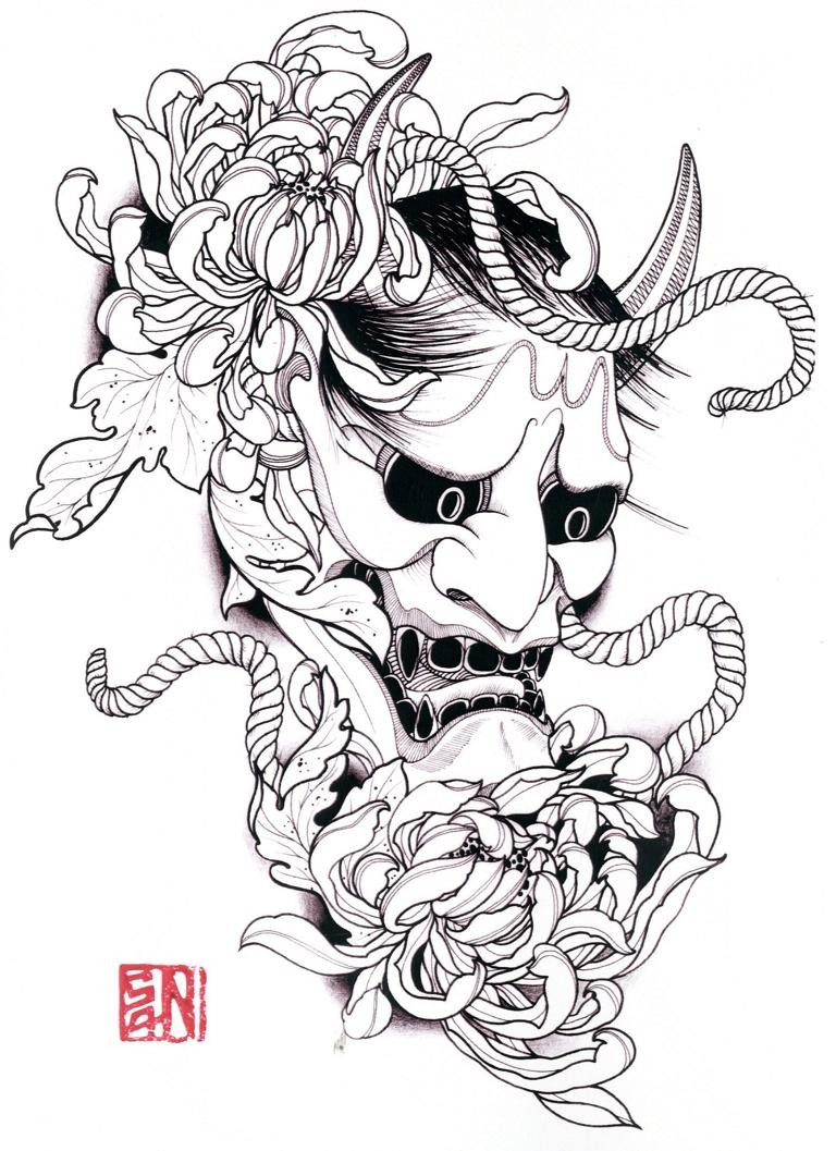 Dark-eyed devil head with peonies and rope tattoo design