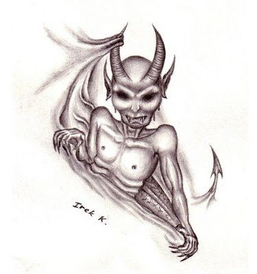 Dark-eyed devil looking out of the hole tattoo design