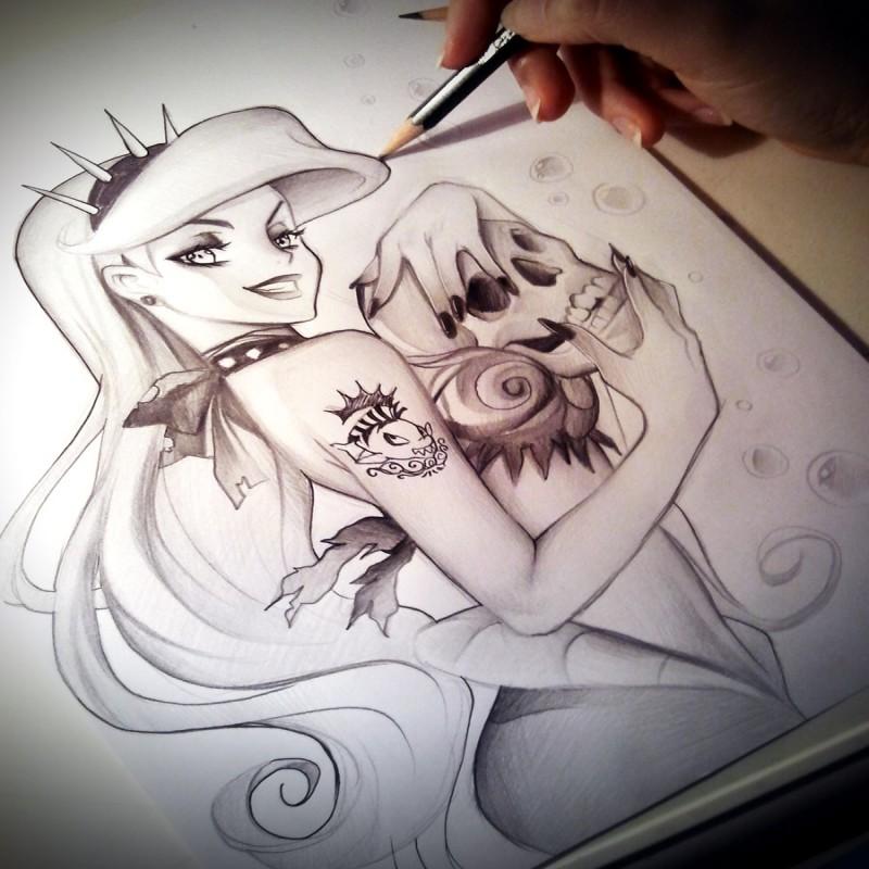 Dark cartoon mermaid keeping a skull in hands tattoo design by Naschi