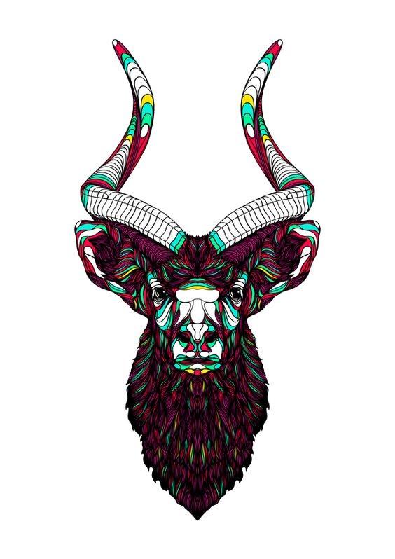 Dark colorful horned animal tattoo design