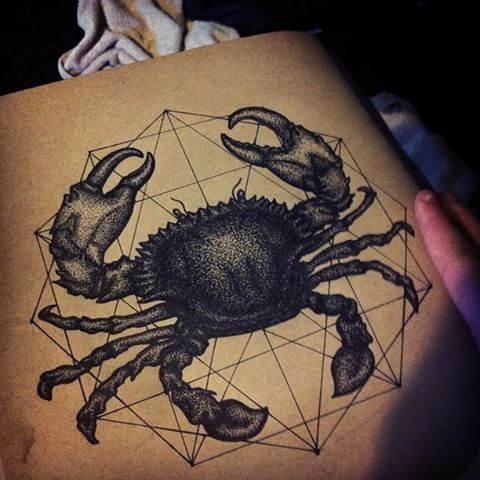 Dark dotwork crab on gigant polygon background tattoo design
