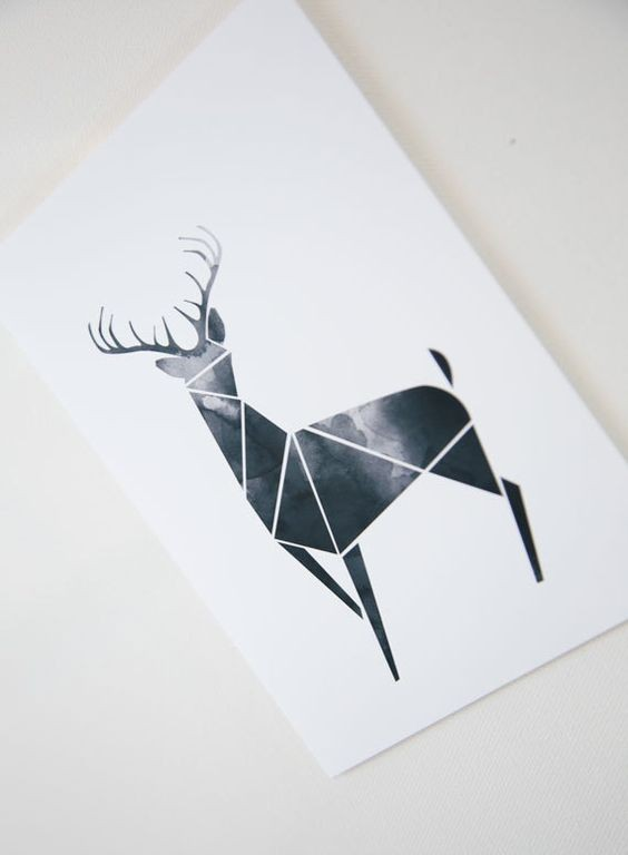 Dark Geometric Deer With Watercolor Effect Tattoo Design