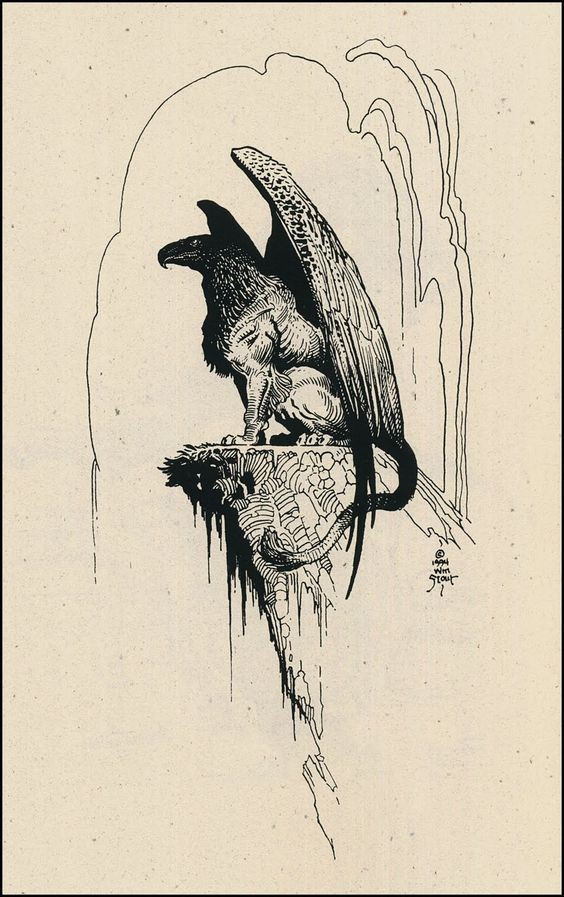 Dark griffin waiting on the edge of rock tattoo design