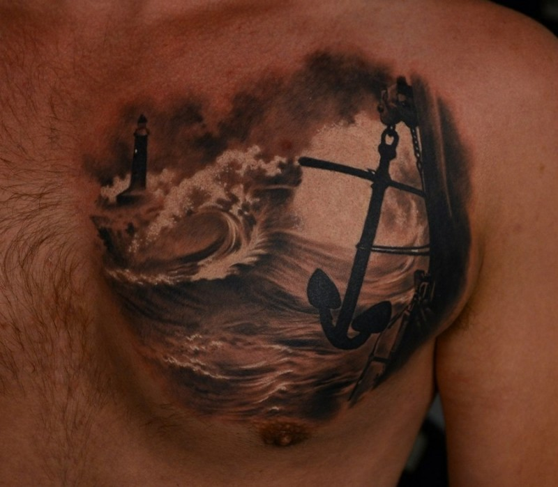 Dark long anchor hangin from ship tattoo for men on chest