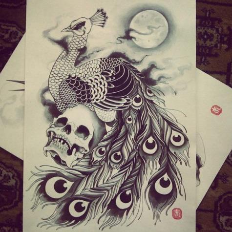 Dark peacock sitting on skull tattoo design