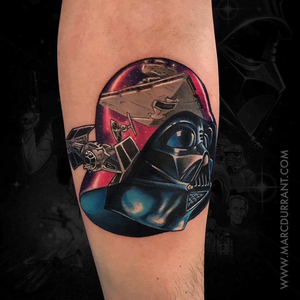 Darth vader helmet star wars theme tattoo