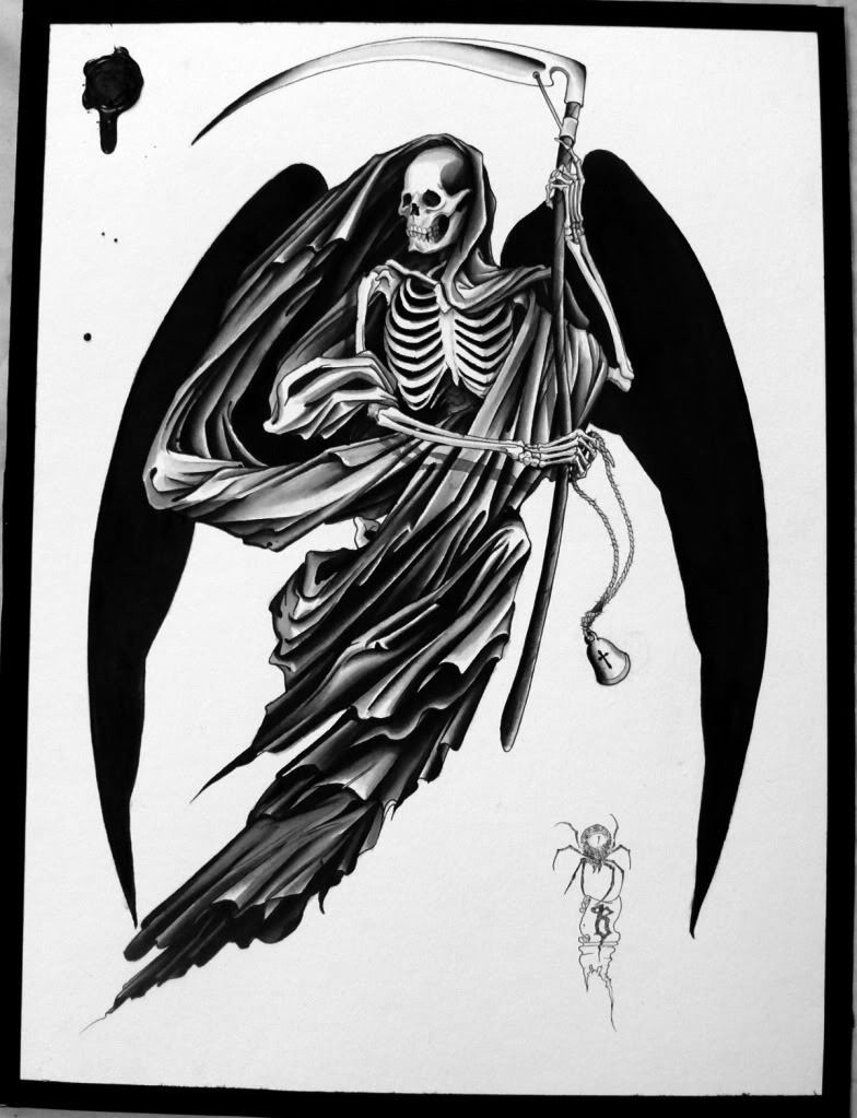 Death skeleton with whole black wings tattoo design