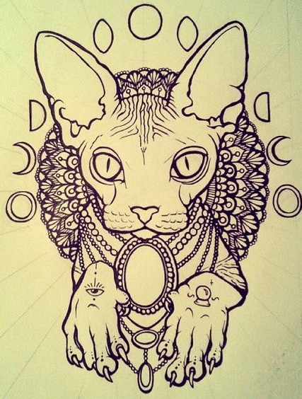 decorated domestic animal with moon phases and mandala