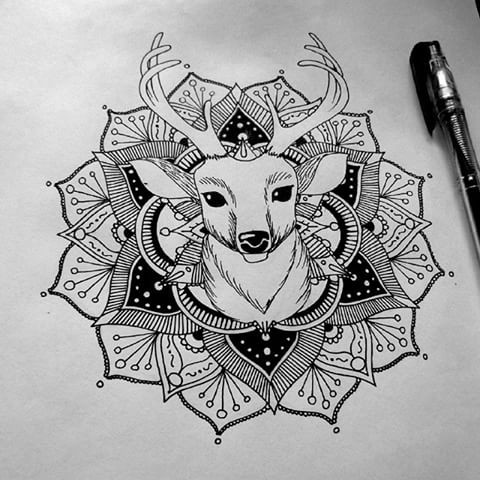 Deer Portrait Inside The Mandala Flower Tattoo Design Tattooimages Biz
